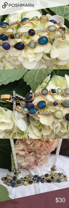 """LIA SOPHIA Sapphire & Matte Gold bracelet LIA SOPHIA Collection, Sapphire Bracelet.  Sapphire and Matte Gold, cut crystal.   Size: approx. 7 1/2"""" Lia Sophia Jewelry Bracelets"""