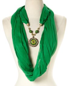 This Green & Gold Pendant Silk Infinity Scarf by A La Tzarina is perfect! #zulilyfinds
