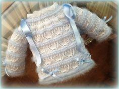 En lana, perlé y angora para bebé: Tutorial chaquetita bebé. Talla 0-3 meses. Angora azul y perlé blanco