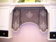 A good example of perfect pattern placement on this valance. Nice trim also. Valance Window Treatments, Kitchen Window Treatments, Custom Window Treatments, Window Drapes, Window Coverings, Drapes Curtains, Window Bed, Drapery Designs, Grey Home Decor