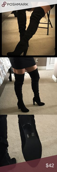 """Brand Never Worn thigh high heeled boots NEVER WORN ~ Made of a soft synthetic suede - zipper inside ankle - adjustable thigh opening - for reference I am 5'3"""" - I was looking for more over knee and not a thigh high - unable to return  - sold out at Vici Collection Vici Shoes Over the Knee Boots"""