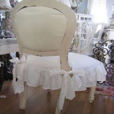 SHABBY WHITE COTTAGE CLASSIC LINEN CHIC LARGE RUFFLES SEAT CHAIR SLIP COVER  NEW