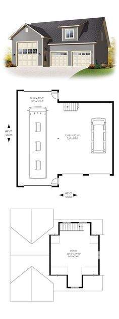 2 Car Attic Garage Plan with One Story 864 5 24 x 36 by Behm