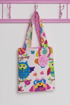 girls fabric tote bag kids bag owls & stars by juniherz