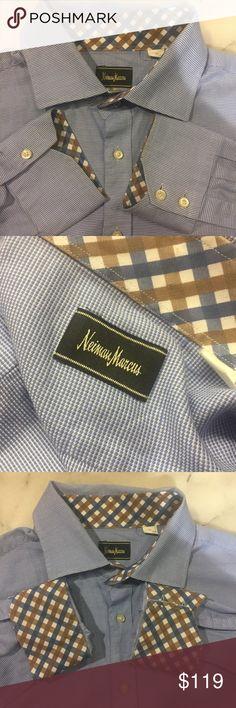 Neiman Marcus 2XL 100% Cotton button down shirt Neiman Marcus 2XL 100% Cotton button down shirt. Classic blue & white Mens long sleeve button down shirt. Fun pattern inside collar & cuffs adds a fun & stylish twist. Neiman Marcus Shirts Casual Button Down Shirts