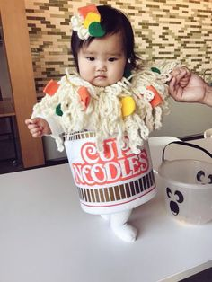 """""""Cutest Halloween costume goes to my cousin as the Cup Noodle😍😭"""" """"Cutest Halloween costume goes to my c. Baby Girl Halloween, First Halloween, Homemade Halloween, Cute Baby Costumes, Cute Baby Halloween Costumes, Costumes For Babies, Boy Costumes, Halloween Ideas, Baby Kostüm"""