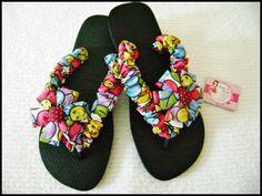 chinelo havaianas customizado em tecido-Tema Homero Britto