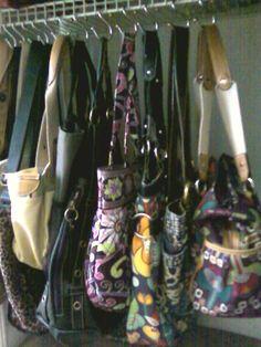 Pocketbook organization.  Shower curtain hooks to hang in closet.