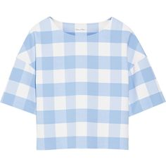 Oscar de la Renta Checked wool-blend top (6.295 BRL) ❤ liked on Polyvore featuring tops, shirts, crop tops, t-shirts, crop shirts, blue checkered shirt, loose crop top, checkered crop top and loose shirts