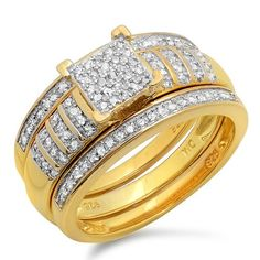 $149  and  0.36 Carat (ctw) 18K Yellow Gold Plated Sterling Silver Round White Diamond Womens Micro Pave Engagement Ring Trio Bridal Set 1/3 CT: Jewelry