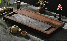 Weight Bamboo and Black Stone tea tray, displaying and serveing tea, tea tray handicraft, Chinese kung-fu tea set,chinese teaism practice.