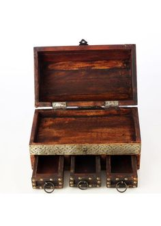 Antique finish dressing box with three mini compartments and one large compartment at the top. Ethnic, Decorative Boxes, Dressing, Antiques, Collection, Home Decor, Antiquities, Antique, Decoration Home