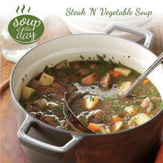 Steak 'N' Vegetable Soup Recipe from Taste of Home -- shared by Edie DeSpain of Logan, Utah