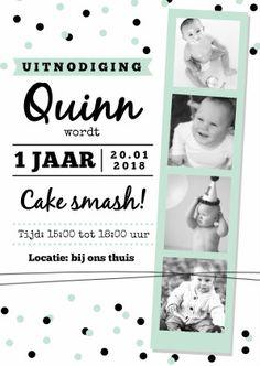 Kinderfeestje cake smash mint , verkrijgbaar bij #kaartje2go voor €0,99