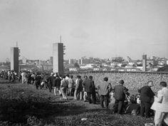 Esta foto foi capturada em 1953, por Alice Brill, em São Paulo, Brasil, e mostra torcedores no Estádio do Pacaembú. Esta foto faz parte do acervo do Instituto Moreira Salles (IMS)