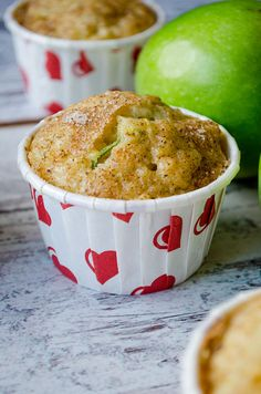 Zucchini Cinnamon Apple Muffins are so moist due to zucchini, apple puree and yogurt. Cinnamon sugar topping makes a great twist on these! | giverecipe.com | #muffins #apple #zucchini #applemuffins #cinnamonapple #baking #fallrecipes #grannysmith