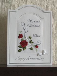 This Beautiful Handmade Embroidered Diamond Wedding Anniversary Card Would Make The Perfect Memento For A Special Couple