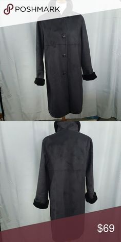 "Gallery long black coat Elegant, slimming. Gallery black faux suede coat. Faux fur lining. Front pockets set on seams. Luxurious feel, yet machine washable. Like new condition. Length is 40"". Bust is 46"" laid flat. Gallery Jackets & Coats Trench Coats"