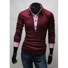 $17.76 Stylish Turn-down Collar Slimming Color Block Faux Twinset Long Sleeves Men's Polo T-Shirt
