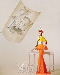 Happy Bunny Girl' photographed by Lee Gun Ho featuring Jang Yoon Ju, Vogue February 2011 Korean Traditional Dress, Traditional Outfits, Korean Dress, Korean Outfits, Korea Fashion, Asian Fashion, Colorful Fashion, Modern Fashion, Cheongsam Modern