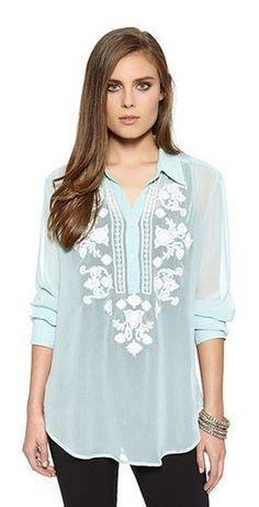 So Pretty! Aqua and White Embroidered blouse!