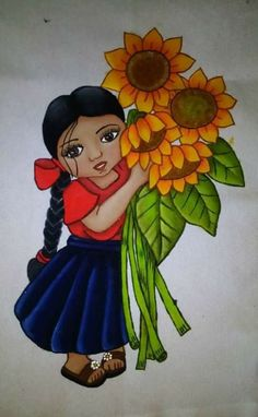 Mexican Artwork, Mexican Paintings, Mexican Folk Art, Mexican Crafts, Hand Embroidery Videos, Cute Canvas, Color Pencil Art, Cartoon Pics, Fabric Painting