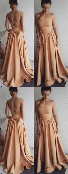 Unique champagne long prom dress, champagne evening dress