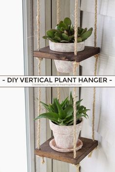 Learn how to create this DIY Vertical Plant Hanger for your home! Perfect for small spaces!