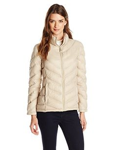 Calvin Klein Womens Lightweight Chevron Packable Jacket Flax Large >>> Check out this great product.