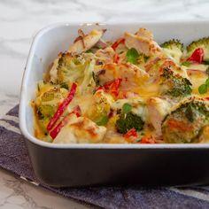 Kyllingform med brokkoli og paprika   Det glade kjøkken Cabbage, Food And Drink, Cooking Recipes, Keto, Pasta, Dinner, Baking, Vegetables, Breakfast