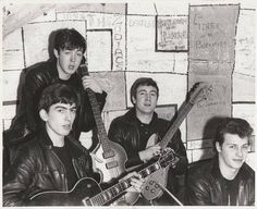 The Beatles in 1961 with George, Paul, John and Pete Best as their drummer before Ringo joined them.