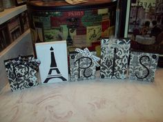 PARIS decor Paris damask blocks FRENCH by JulieannasCreations