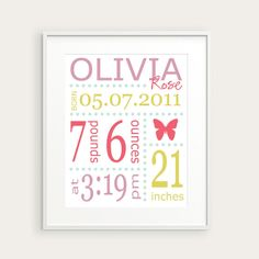 Personalized Girl's Nursery Birth Print, Butterfly, Pink Green Lavender, You Pick Color & Birth Details, Nursery Decor, Baby Gift. $20.00, via Etsy.