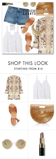 """""""Denim Shorts"""" by christinacastro830 ❤ liked on Polyvore featuring River Island, Ancient Greek Sandals, Cult Gaia, Dolce&Gabbana and Bobbi Brown Cosmetics"""