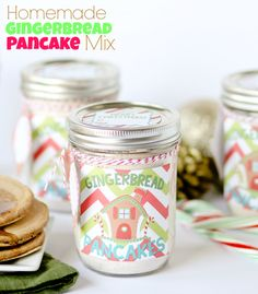 Homemade Gingerbread Pancake Mix + Free Printable Jar Labels! I gave these to the teachers and neighbors last year and they LOVED them!