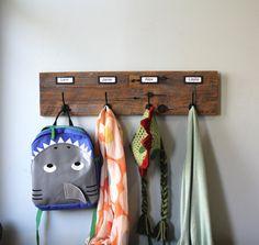 Barn Wood Coat Rack Labeled Organizer by bluebirdheaven on Etsy