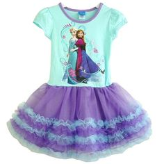 Cute Disney Elsa and Anna tutu cake dress, teal and purple