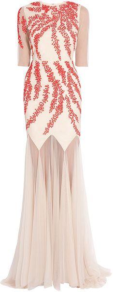 Ellen 34 Sleeveless Gown Saloni, gorgeous detail on sleeve.