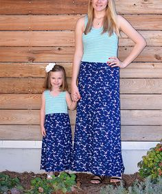 Love this Blue Anchors Maxi Dress Set - Infant, Toddler, Girls & Women by CopyCat Couture on #zulily! #zulilyfinds