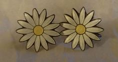 """Vintage Sterling NORWAY Enamel Daisy Earrings 3/4"""" AKSEL HOLMSEN Screw Back #AKSELHOLMSEN"""