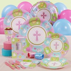 Sweet Blessing Pink Baptism / Christening Party Supplies, I think I like this one better? Baby Shower Parties, Baby Shower Themes, Baby Shower Decorations, Shower Party, Baby Showers, Shower Ideas, Baby Gifts For Dad, Baby Presents, Girls Birthday Party Themes