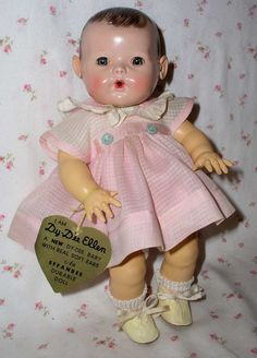 "RARE Brunette 1940's Effanbee 11"" Dy-Dee-ette -- Mold 2 A/O in DISPLAY Box"