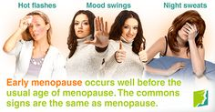 Early menopause occurs well before the usual age of menopause. The commons signs are the same as menopause.