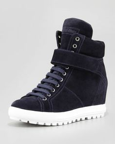 Suede Lace-Up Wedge Sneaker with Strap by Miu Miu at Neiman Marcus.