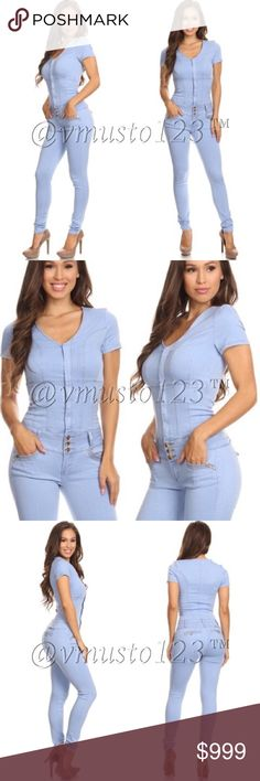 "DENIM SEXY FITTED JUMPSUIT Looks exactly like the photo. So sexy and sleek. Made of a super stretchy soft light Denim material. You will feel SO SEXY in this. Fits snug and fitted. Recommended sizes: S(0-2) M(4-6) L(8-10) XL(12-14) limited quantities. Price is FIRM! Apprx 29.5"" inseam but stretches to conform to your body. ValMarie Boutique Pants Jumpsuits & Rompers"