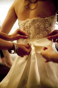 beautiful back of dress- bow, beading