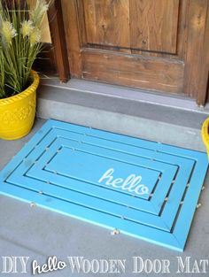Brighten up your doorway with a cheery hello wooden door mat. Register for the upcoming Home Depot DIY workshop and see tons of wood door mat inspiration. Wooden Crafts, Wooden Diy, Do It Yourself Inspiration, Classic Doors, Ikea, Diy Workshop, Ana White, White White, Diy Wood Projects