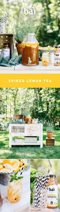 Upgrade your lemonades and teas this summer with our refreshing spiked lemonade and tea recipes — perfect for family gatherings or casual sipping. Spiked Tea, Spiked Lemonade, Cold Drinks, Alcoholic Drinks, Beverages, Cocktails, Party Desserts, No Bake Desserts, Potluck Desserts