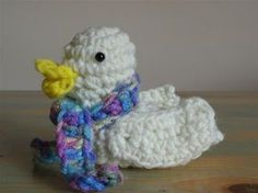 """Crochet duck! Found a pattern. My mom made a similar one that I cherish and have been wanting to figure out how to make more for my family. The one my mom made, you fill it with jelly beans at Easter, squeeze it's tummy and well, let's just say we all call it a """"pooper duck!"""""""