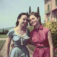 Leslie Caron & Brigitte Bardot by Michou Simon/1953